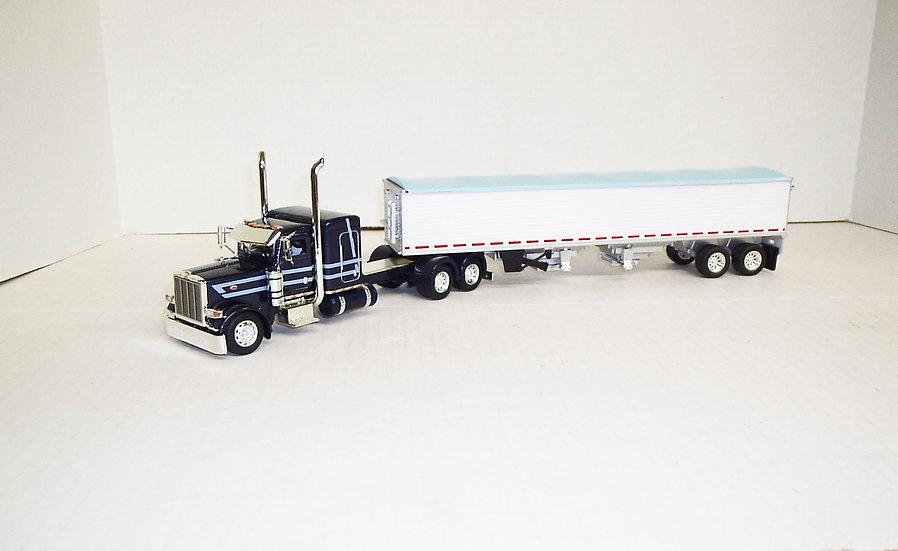 "1/53 Peterbilt 389 W/ 48"" Flattop Sleeper W/ Semi Grain Trailer Drk Blue"
