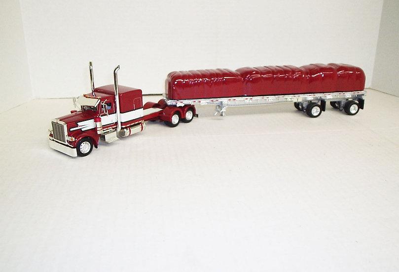 """1/53 Peterbilt 389 W/ 63"""" Sleeper W/ 48' Spread Axle Flat, Red/Wht/Blk"""