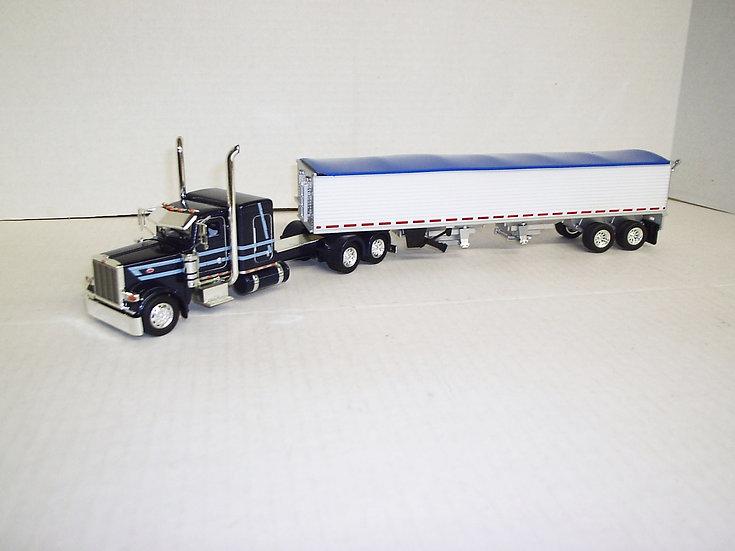 "1/53 Peterbilt 389 W/ 48""Flattop Sleeper W/ Semi Grain Trailer, Blue"