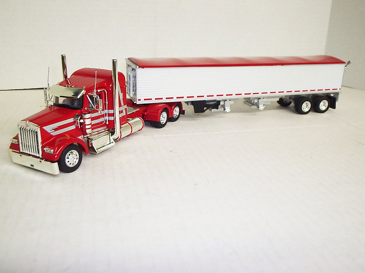 """1/53 Kenworth W900L W/ 38"""" Sleeper W/ Semi Grain Trailer, Viper Red"""