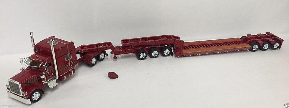 1/53 Peterbilt 389 W/ 3 Axle Jeep & 3 Axle Lowboy, Dark Red, Black W/ Gold