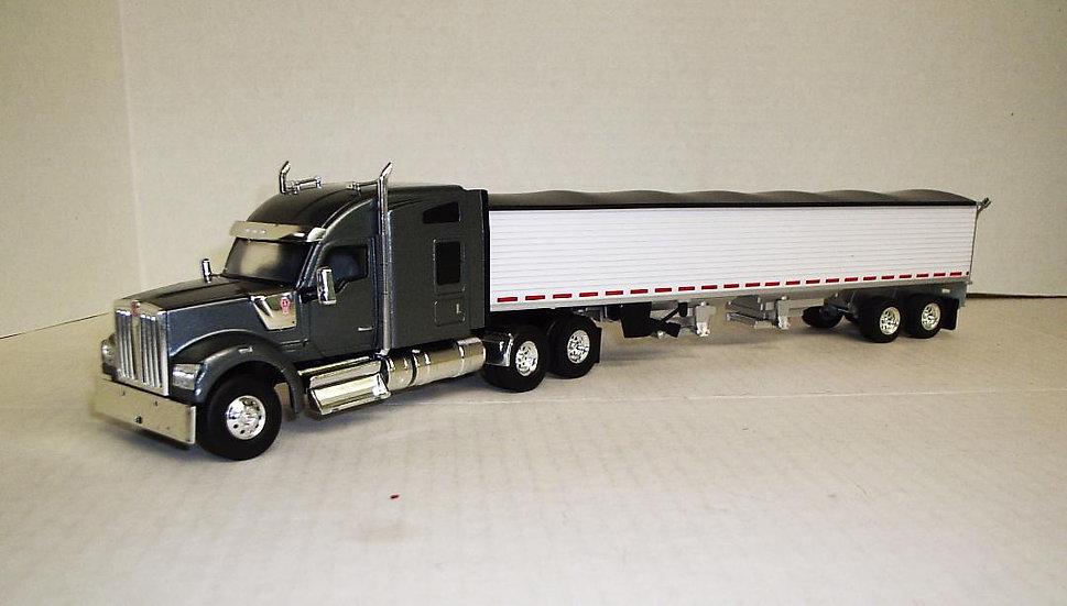 1/50 Kenworth W990 Sleeper, Slate Gray W/ Grain Hopper