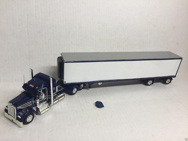 1/53 Kenworth W900L W/ Spread Axle Reefer Van, Dark Blue & Silver