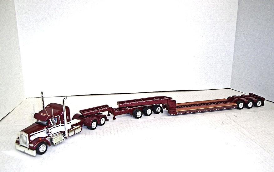 """1/53 Kenworth W900L w/ 38"""" Sleeper w/ Lowboy & Jeep"""