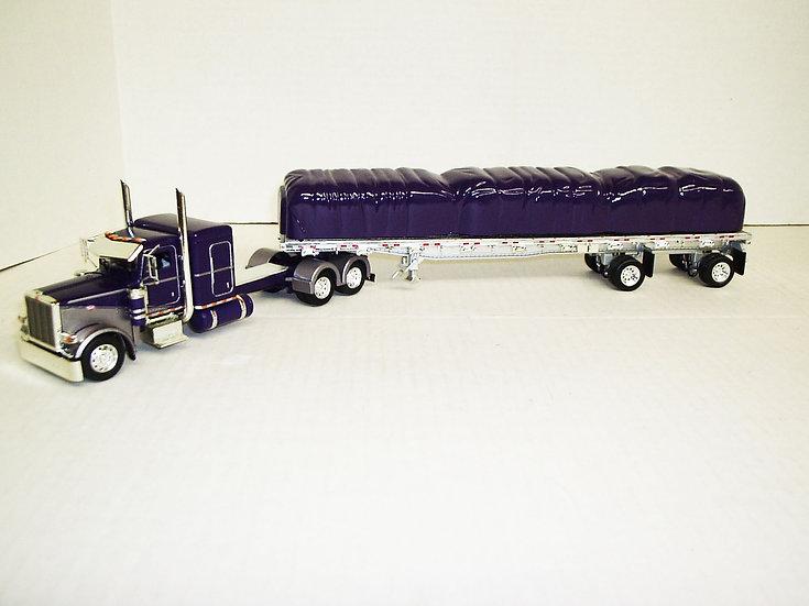 "1/53 Peterbilt 389 W/ 48"" Sleeper W/ 48' Spread Axle Flat, Purple"