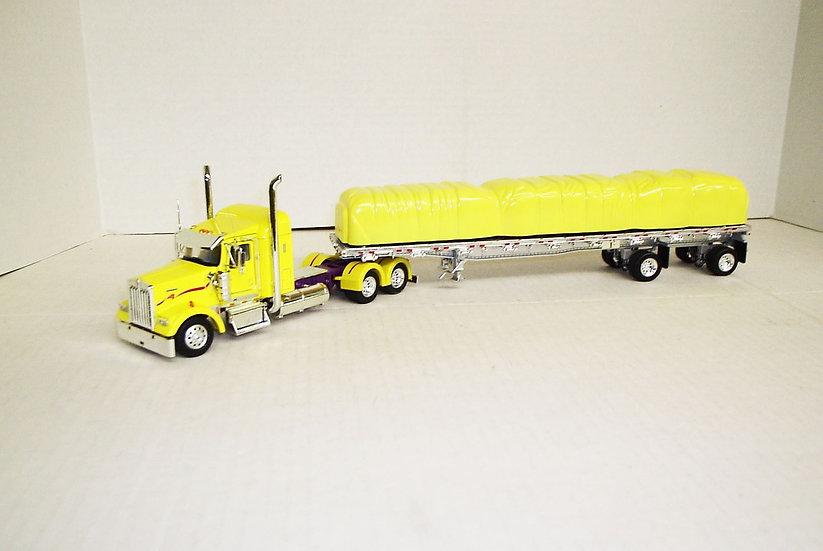 "1/53 Kenworth W900L W/ 38"" Sleeper W/ 48' Spread Axle Flat, Yellow"