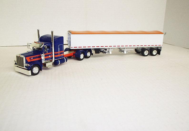 "1/53 Peterbilt 389 W/ 48"" Standup Sleeper W/ Semi Grain Trailer, Blue/Orange"