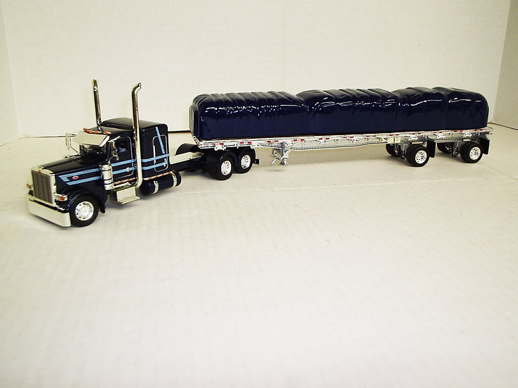 "1/53 Peterbilt 389 W/ 48"" Sleeper W/ 48' Spread Axle Flat, Blue/Light Blue"