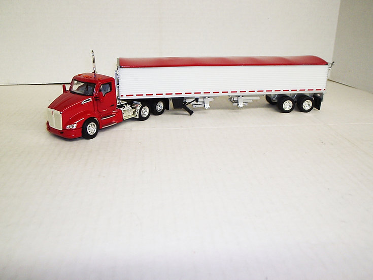 1/53 Kenworth T680 Daycab W/ Semi Grain Trailer, Viper Red