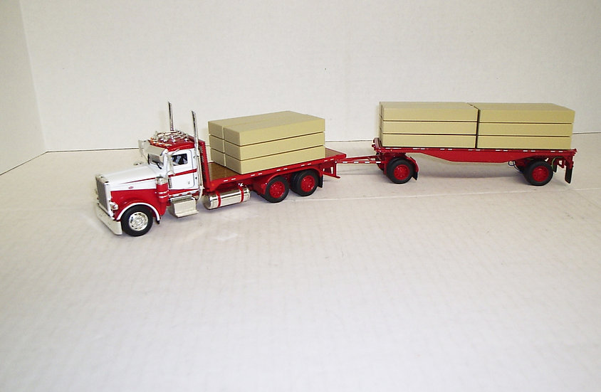 1/53 Peterbilt 389 W/ Truck & Trailer Flatbed W/ Lumber Load, Viper Red & White