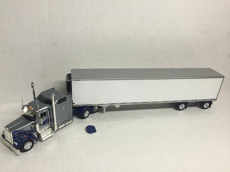 1/53 Kenworth W900L W/ Spread Axle Reefer Van, Silver, Blue W/ Flames