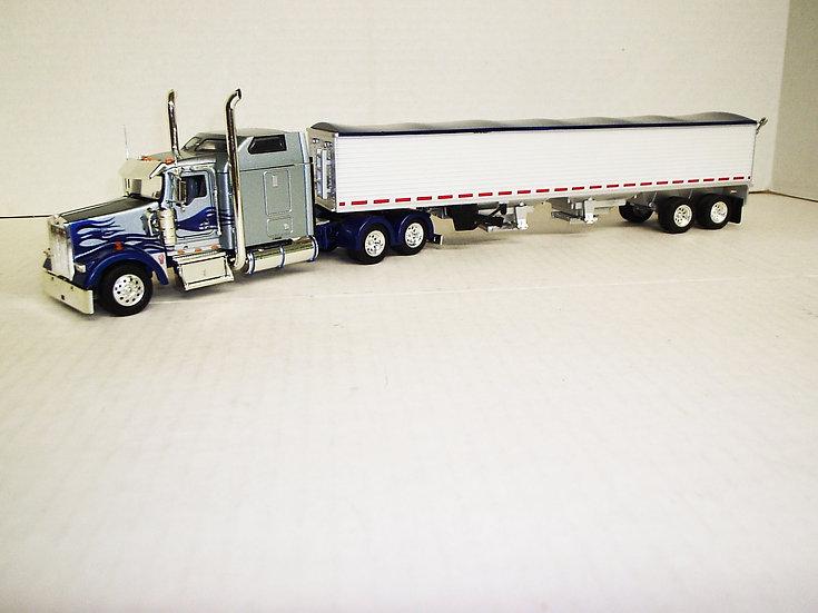 "1/53 Kenworth W900L W/ 72"" Sleeper W/ Semi Grain Trailer, Sliver/Blue"