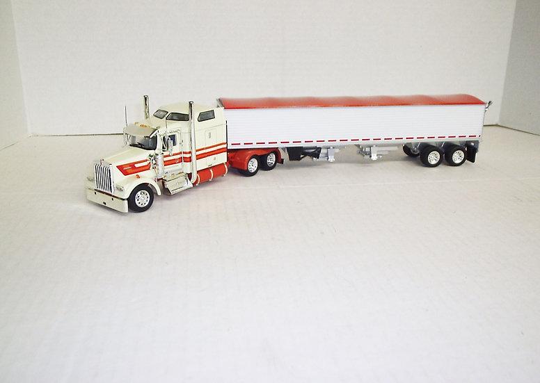"1/53 Kenworth W900L W/ 72"" Sleeper W/ Semi Grain Trailer, Cream/Orange"