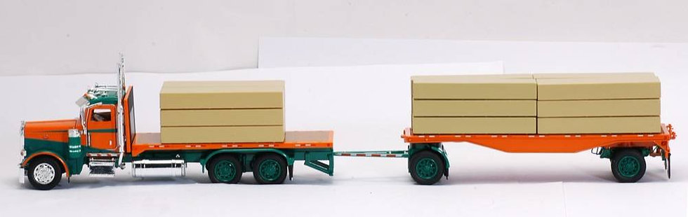 1/53 Peterbilt 389 W/ Flatbed Trailers W/ Lumber Load, Green & Orange