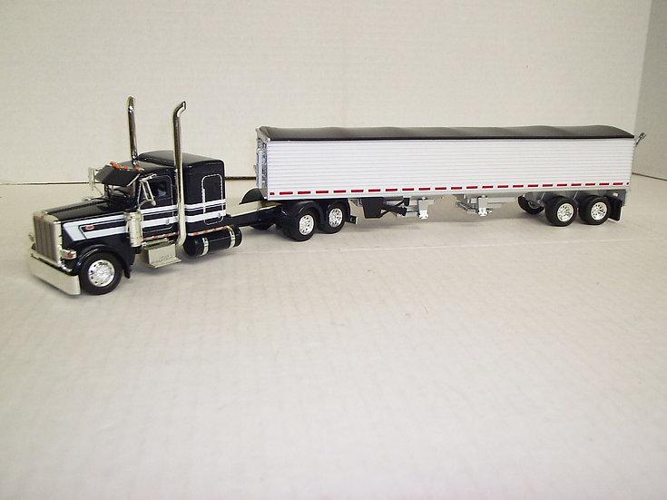 "1/53 Peterbilt 389 W/ 48"" Sleeper Flattop W/ Semi Grain Trailer, Dark Blue"