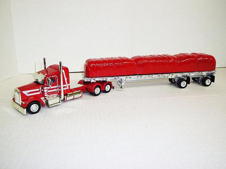 "1/53 Kenworth W900L W/ 38"" Sleeper W/ 48' Spread Axle Flat, Red/Silver Stripes"