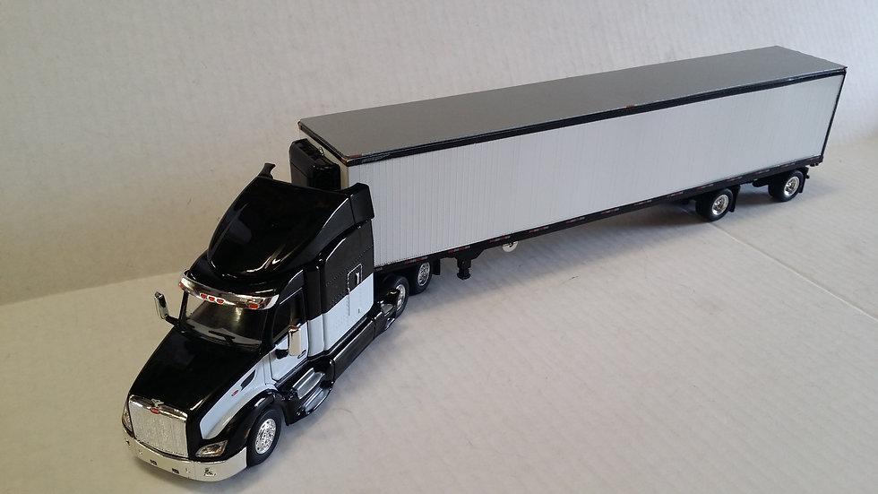 1/53 Peterbilt 579 W/ Spread Axle Reefer Van, Black & White
