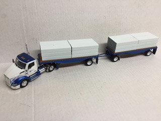1/53 Kenworth T680 W/ Flatbed Trailers W/ Sheet Rock Load, White, Blue & Flames