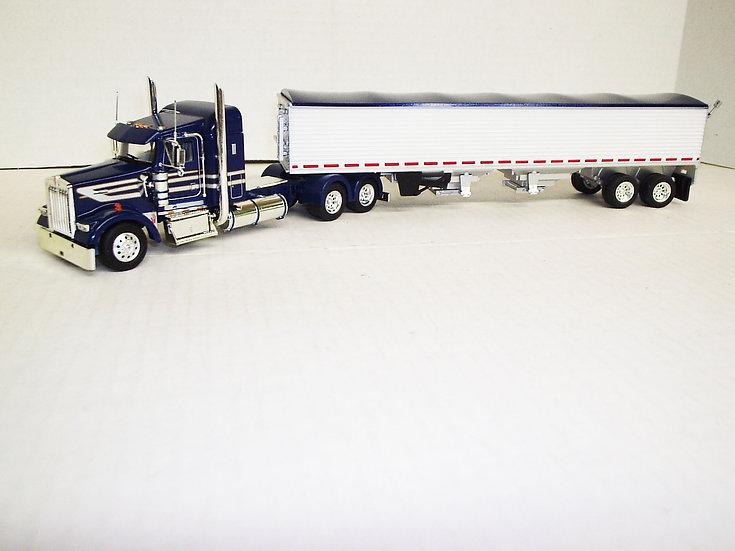 "1/53 Kenworth W900L W/ 38"" Sleeper W/ Semi Grain Trailer, Dark Blue"