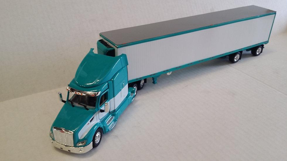 1/53 Peterbilt 579 W/ Spread Axle Reefer Van, Turquoise & White