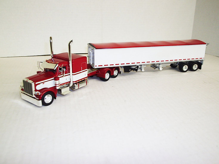 "1/53 Peterbilt 389 W/ 63"" Flattop Sleeper W/ Semi Grain Trailer, Red/White"
