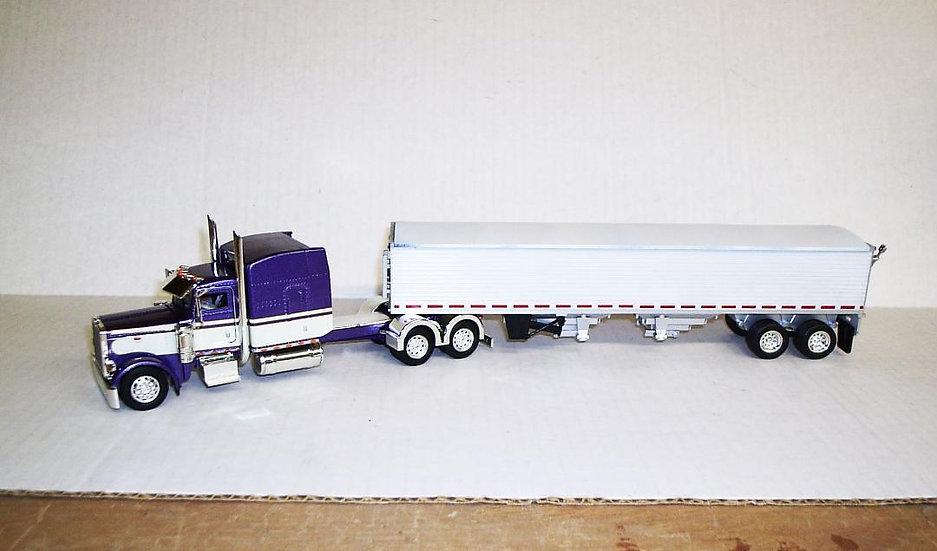 """1/53 Peterbilt 389 W/ 63"""" Sleeper (Purple) W/ Grain Trailer"""