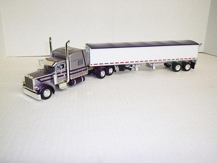 "1/53 Peterbilt 389 W/ 70"" Standup Sleeper W/ Semi Grain Trailer, Silver/Purple"