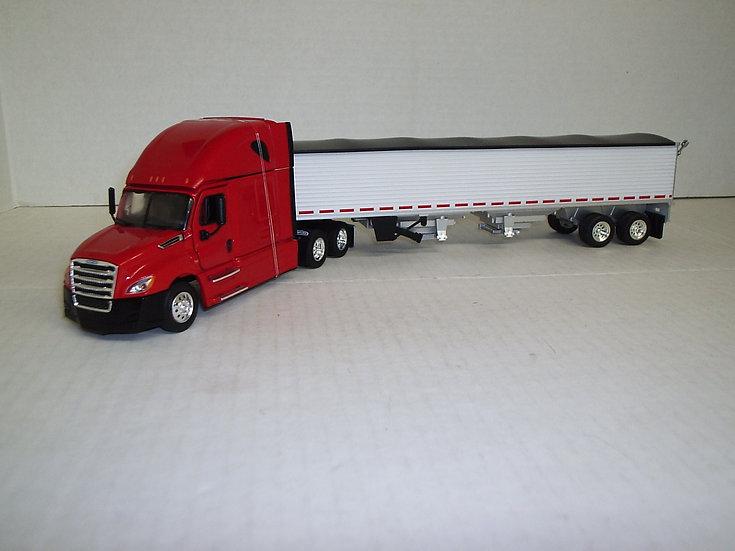 1/53 Freightliner Cascadia High Sleeper W/ Semi Grain Hopper, Red