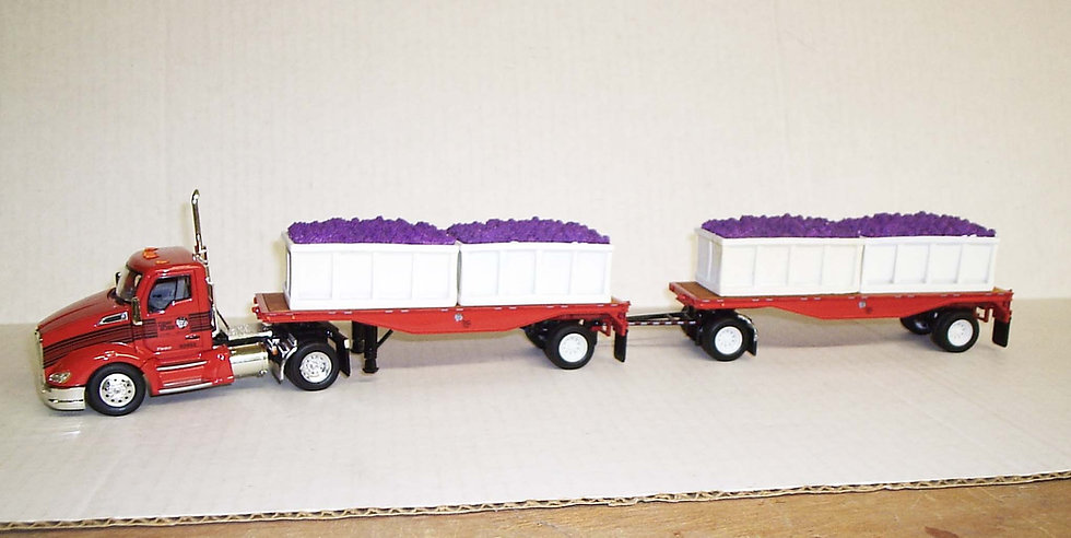 1/53 Kenworth T680 W/ Flatbed Trailers W/ Grape Gondolas, Tiger Lines