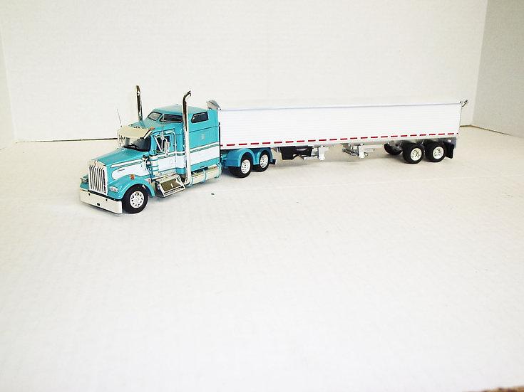 "1/53 Kenworth W900L W/ 72"" Aero Sleeper W/ Semi Grain Trailer, Turquoise"