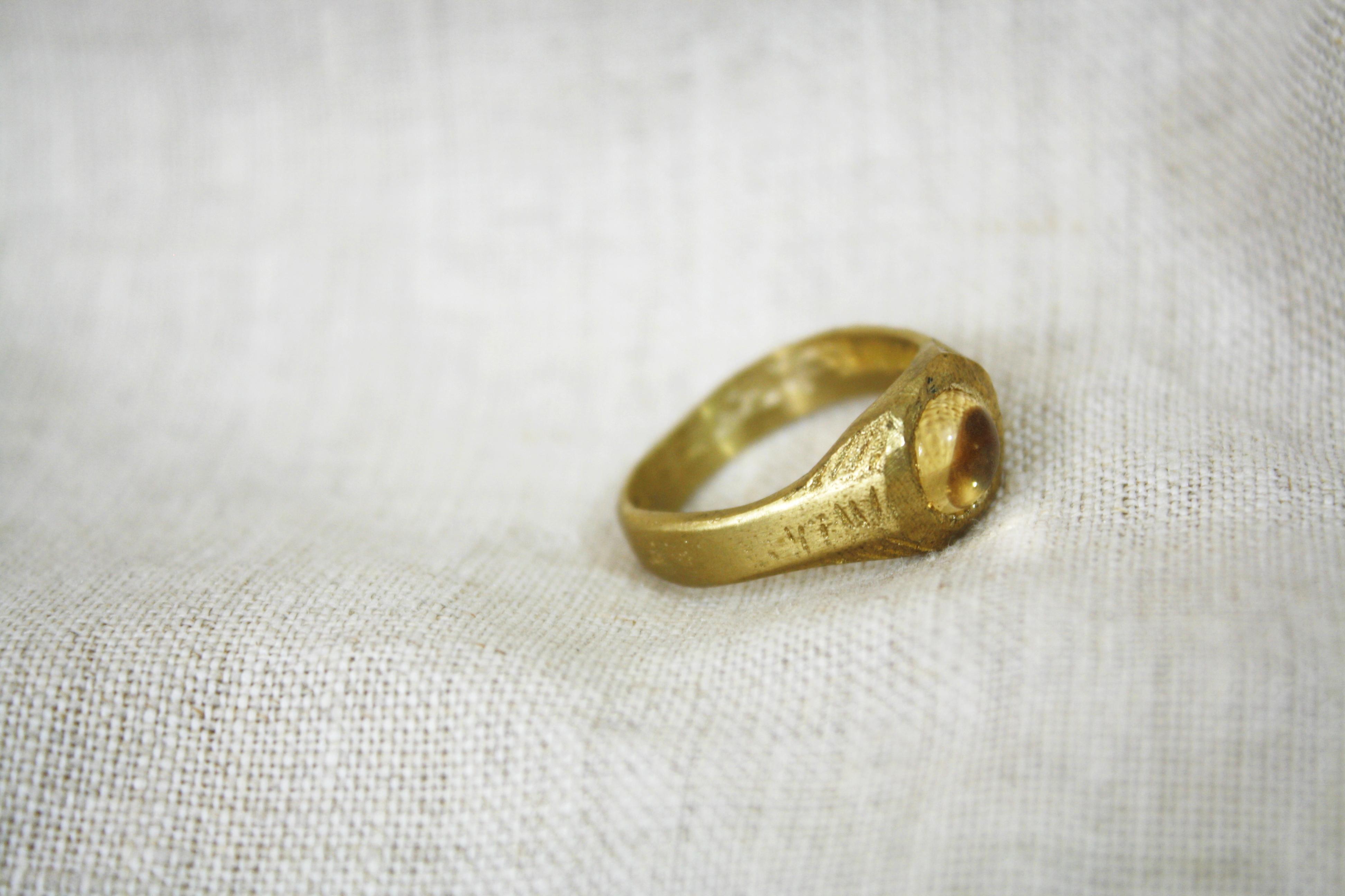 טבעת בארות מים מתוקים ציטרין זהב
