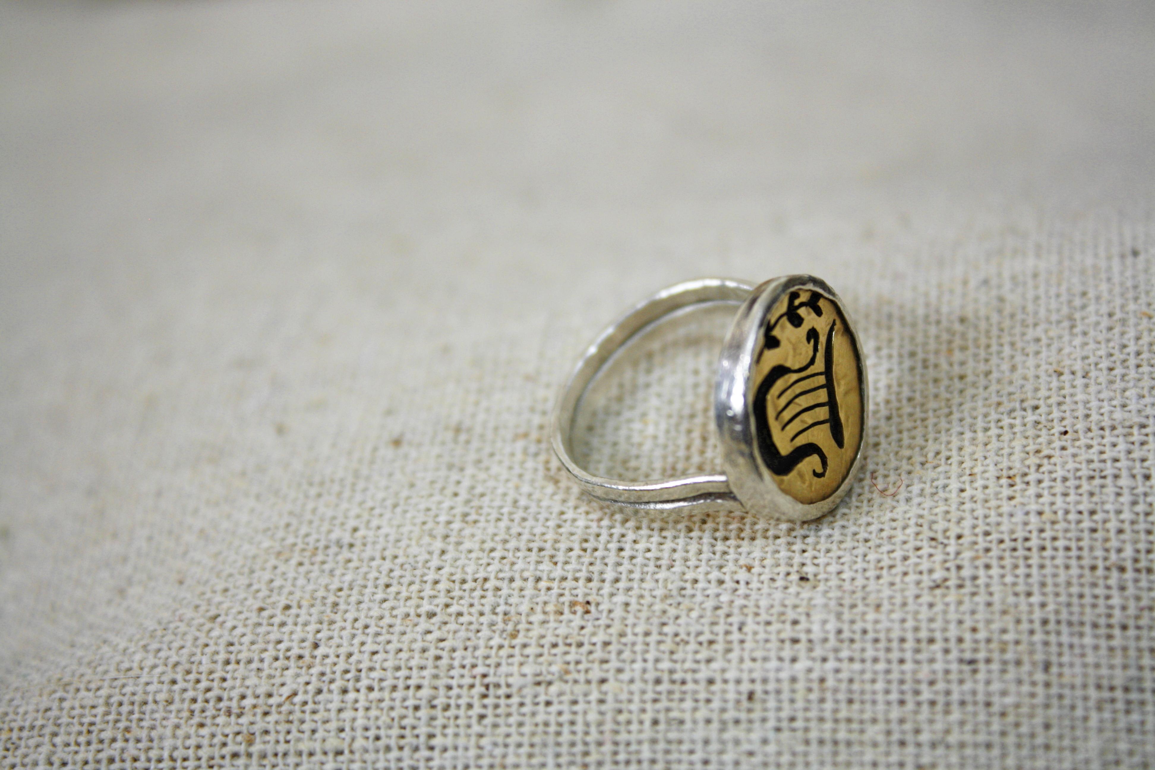 טבעת נבל דוד בכסף וזהב