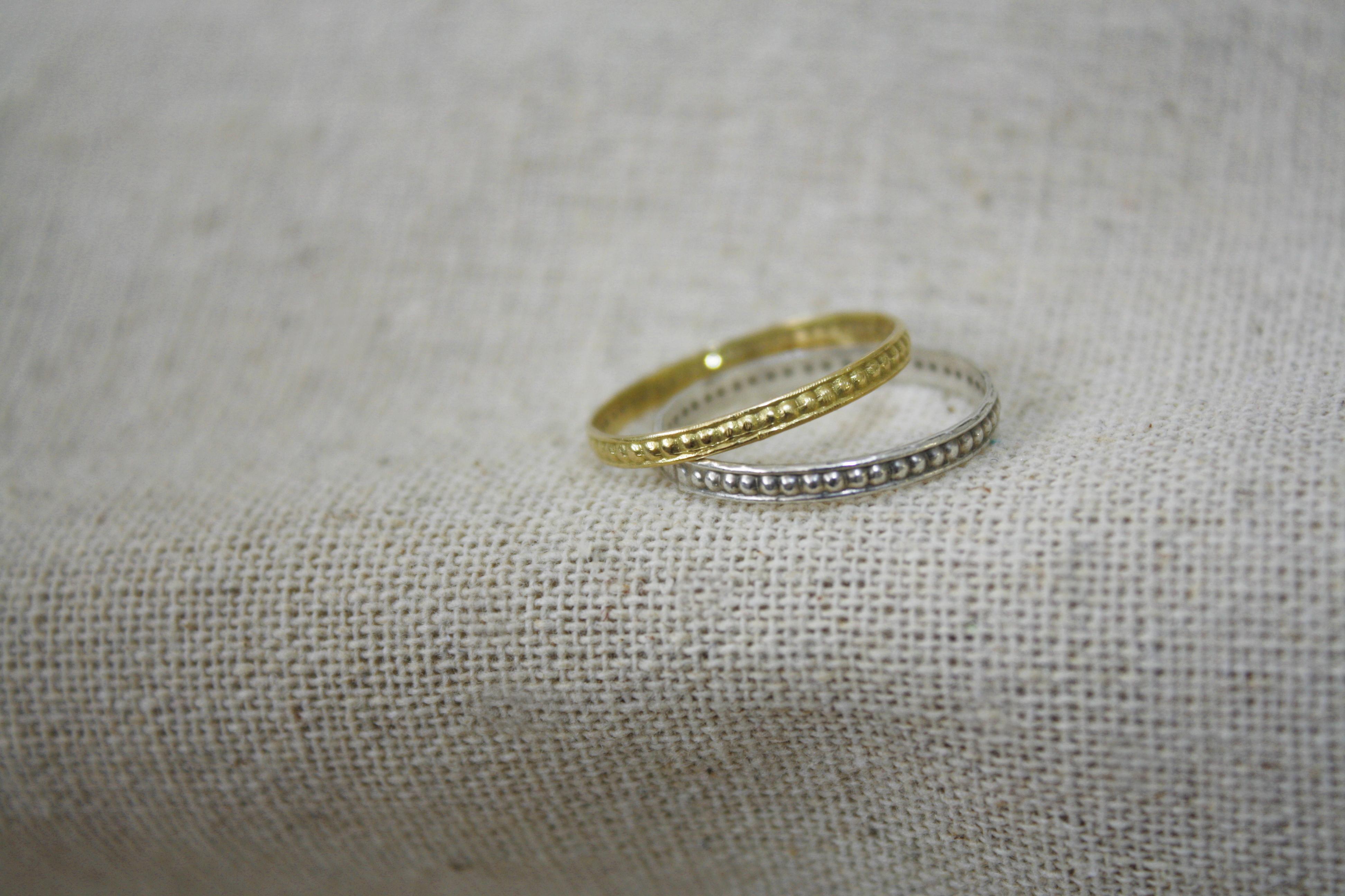 טבעת עיטורים זהב וכסף