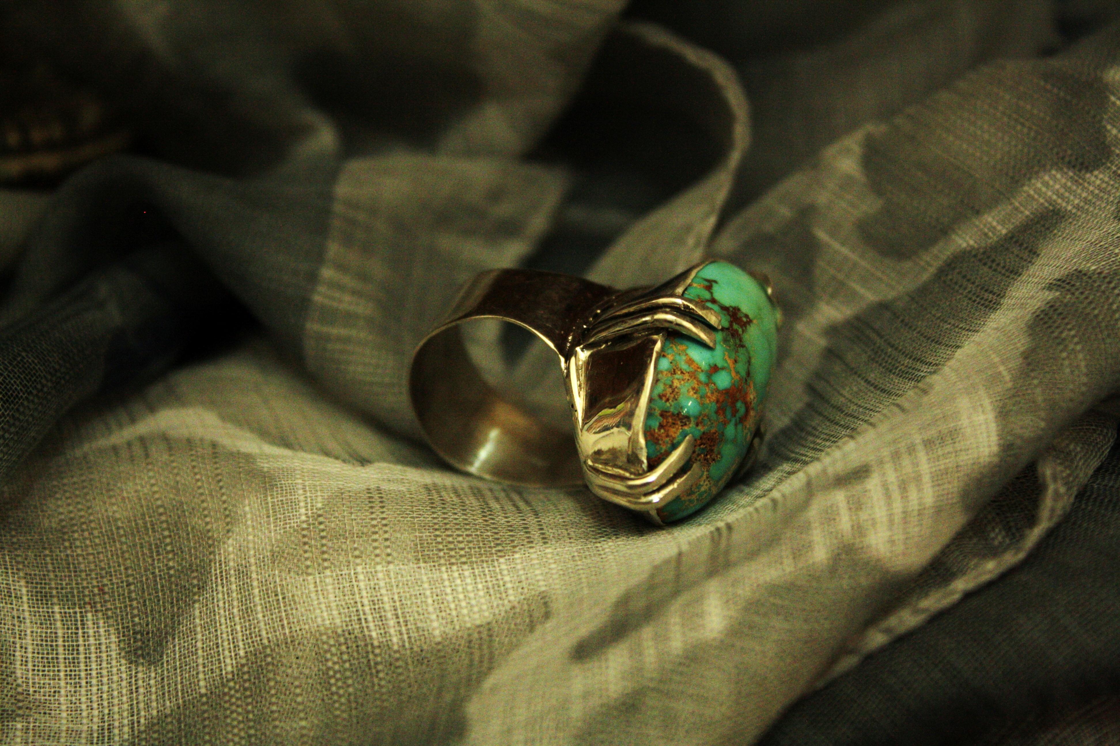 טבעת כסף וטורקיז פרסי