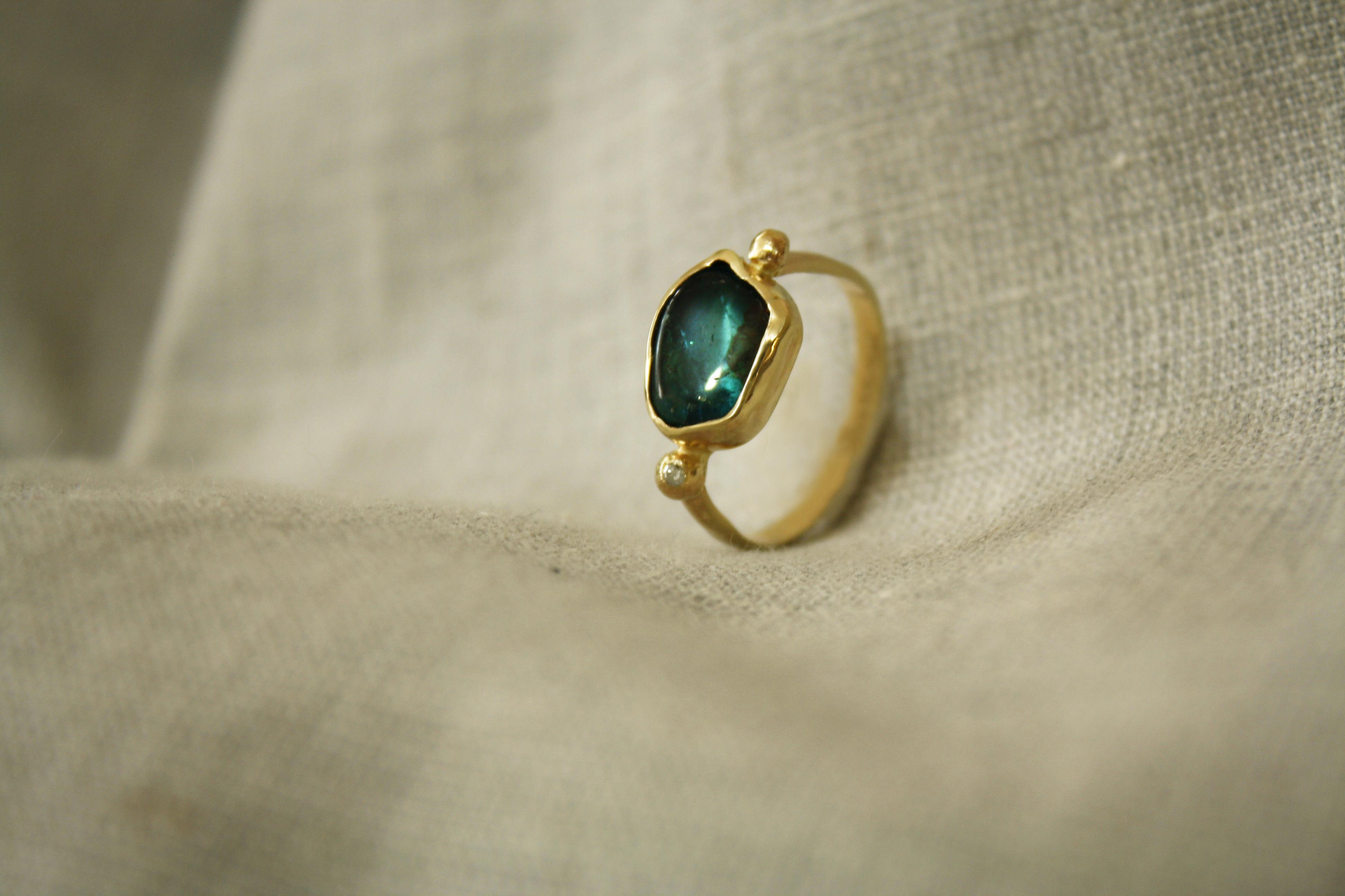 טבעת אפטייט גולמי ויהלום