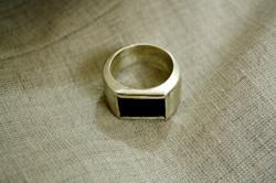 טבעת גבר, כסף ואבן אוניקס שחורה