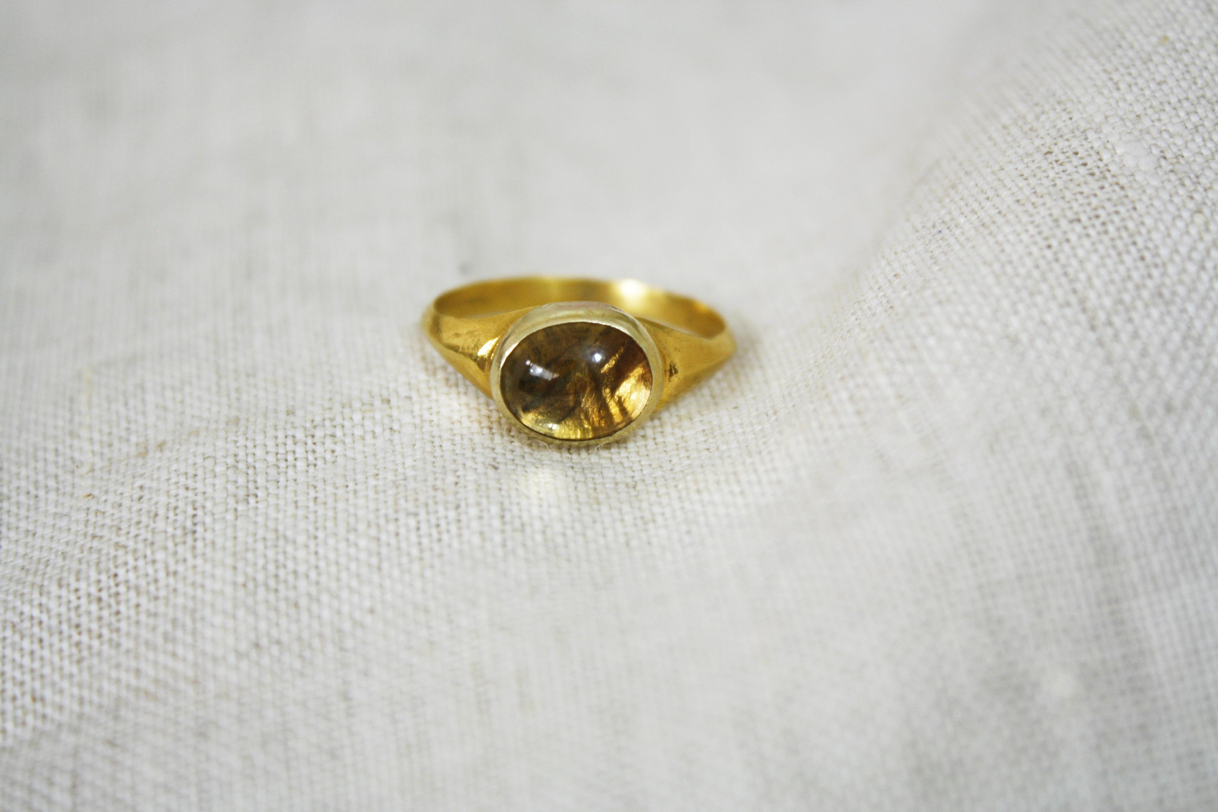 טבעת קרני החמה ציטרין זהב