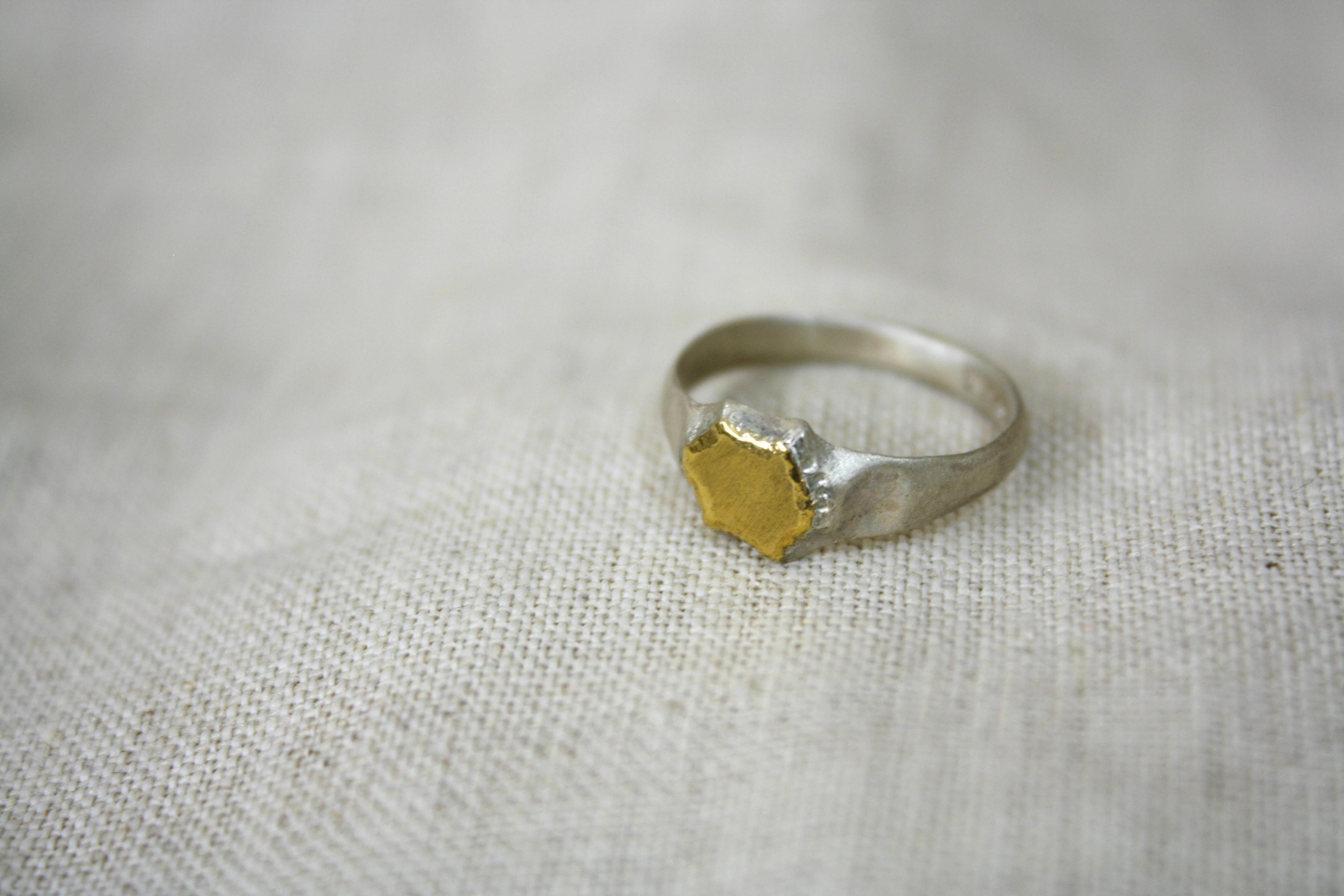 טבעת מים חיים כסף וזהב