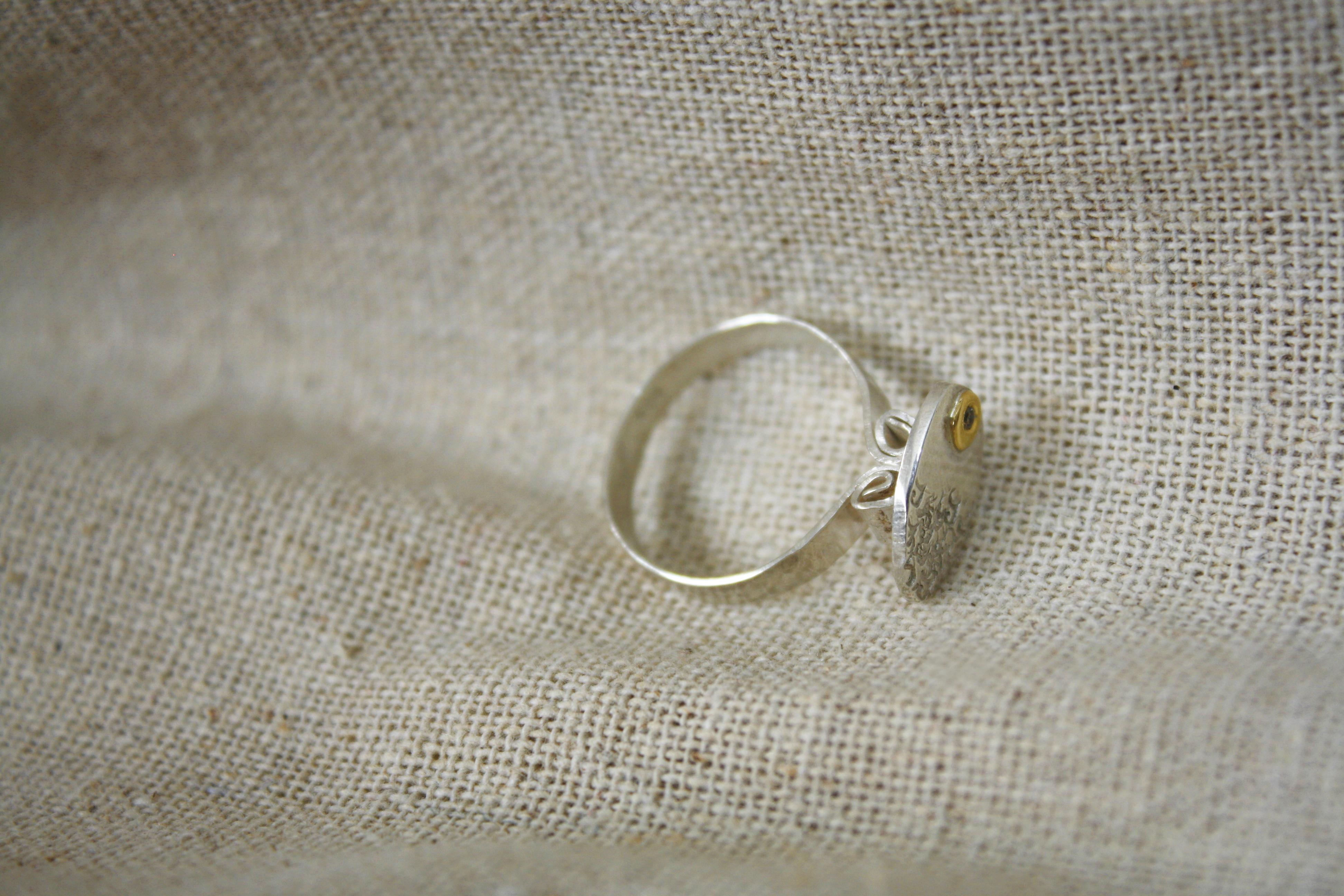 טבעת קורינטית כסף יהלום ב22 קראט