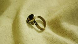 טבעת כסף וסמוקי טופז