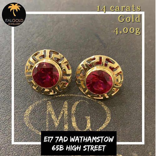 Earrings red stones