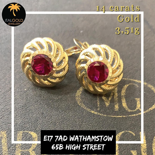 Earrings with red stone