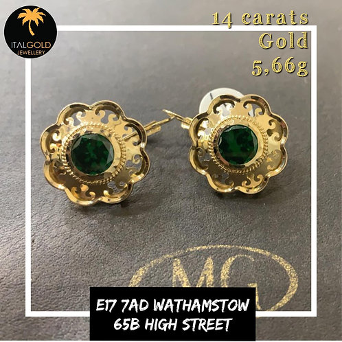 Ear Rings with green stone