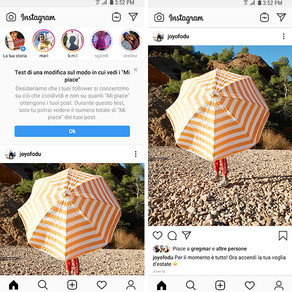 Instagram: al via anche in Italia il test per celare la view del totale di like