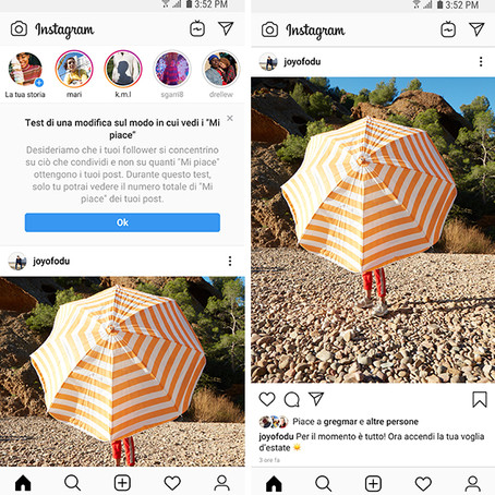 Instagram: al via anche in Italia il test per celare la view del totale di like