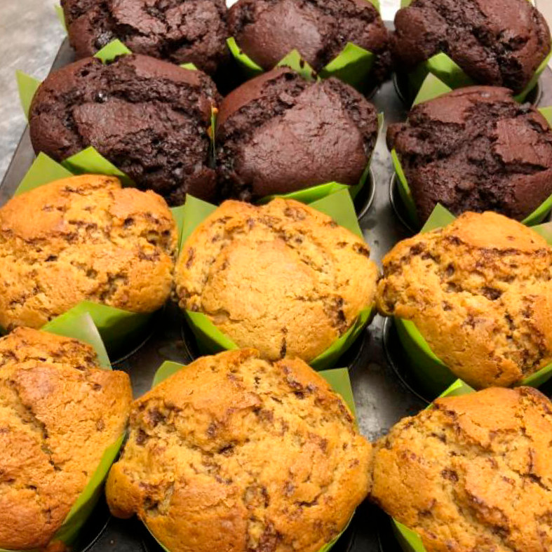 Coffee and chocolate muffins