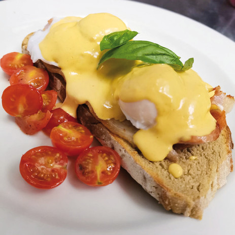 Eggs Benedict. Served on our sourdough A