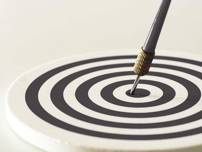 Black and white bullseye dart arrow hitt