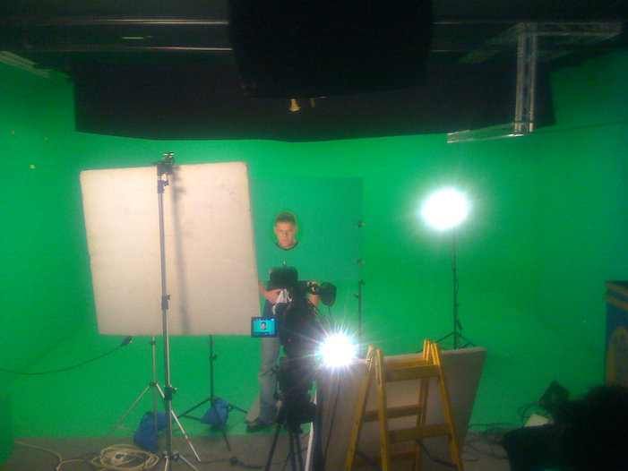 green screen studio shooting