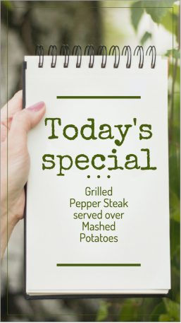 Today's specials restaurant story template